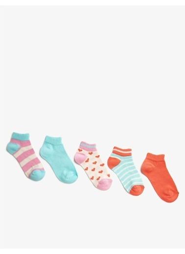 Koton Koton Çizgili Desenli Kız Çocuk Çorap Seti Pembe